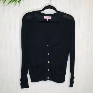 Juicy Couture black bow button down sweater Medium